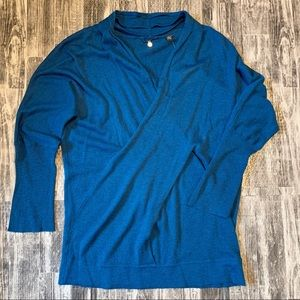 Anthropologie Knitted Knotted Teal V-Neck Sweater